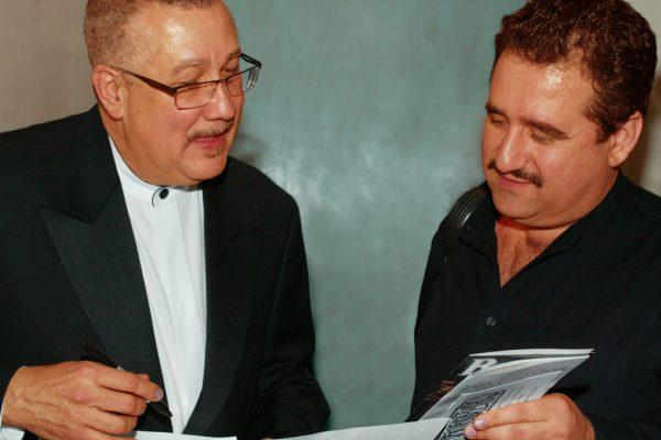 Left: Multi Grammy Award winner, master Latin Jazz Saxophonist/Clarinetist: Paquito D'Rivera on left, Demetrios Kastaris on right, New Jersey City University, April 28, 2003, photo credit: Jerry Lacay