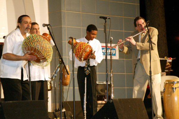 left to right: Angel Rodriguez, Hiram Remón, Frank Almonte, Dave Valentin. Homenaje a Mongo Santamaria Concert, June 16, 2003, Seuffert Bandshell, Woodhaven Queens, New York (photo credit Jerry Lacay)