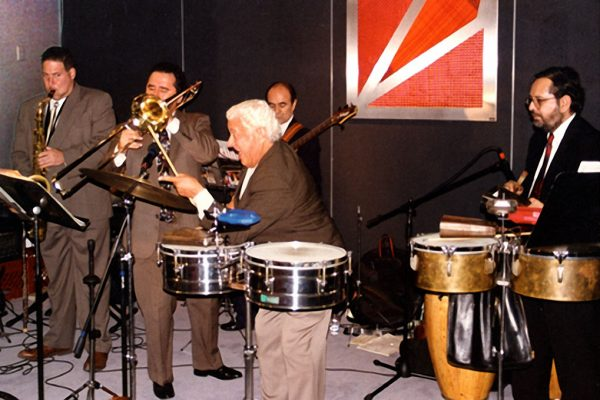 left to right: Mitch Frohman, Demetrios Kastaris, Tito Puente, Freddy Zanella, Victor Rendón, September 30, 1997 Architect and Designer's Building, NYC (photo credit Ito Rodriguez)