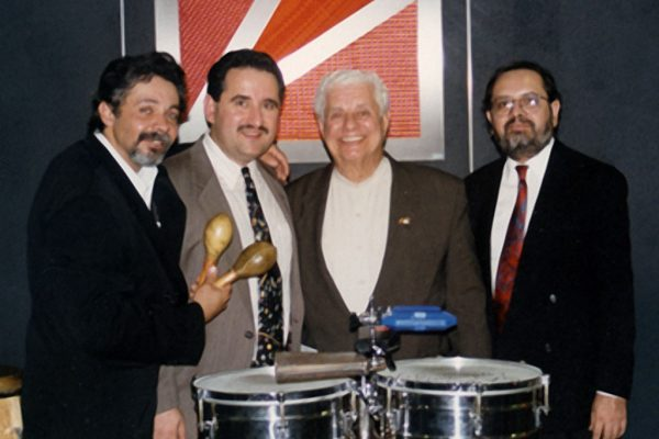 left to right: Angel Rodriguez, Demetrios Kastaris, Tito Puente, Victor Rendón, September 30, 1997 Architect and Designer's Building, NYC (photo credit Ito Rodriguez)