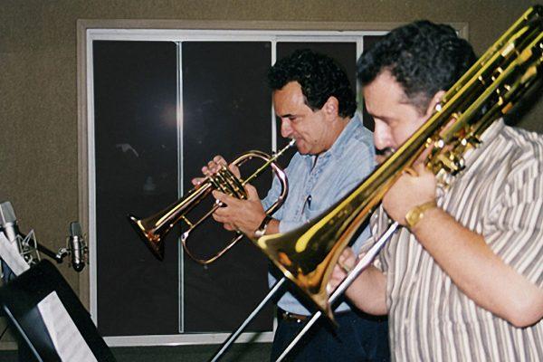 Claudio Roditi, Demetrios Kastaris recording at Skylight Studio, Bellville, New Jersey, July 1999 (photo credit Hilda Kastaris)