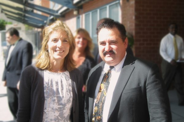 Left: Caroline Kennedy, right Demetrios, September 15, 2010, renaming ceremony of the Queens Occupational Trainining Center to the John F. Kennedy Junior School in Elmhurst, Queens, NY, photo credit, Victor Hogans