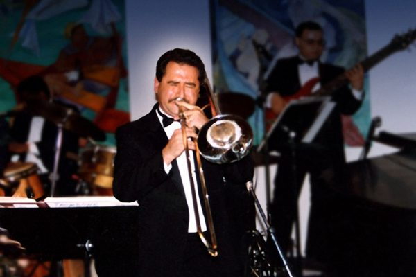 Demetrios Kastaris and the Latin-Jazz Coalition perform at the Grand Opening of Flushing Town Hall Jazz Cafe before an audience that included jazz legends Jimmy Heath, Clark Terry, Al Grey, Dakota Staton, George Coleman, Donald Byrd, and Ray Barretto, May 20, 1993, Flushing Council on Culture and the Arts, Flushing Queens, New York