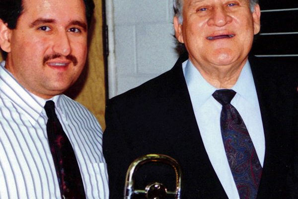 Left: Demetrios Kastaris, right the late master Jazz trombonist Carl Fontana at the Eastern Trombone Workshop in Washington D.C.