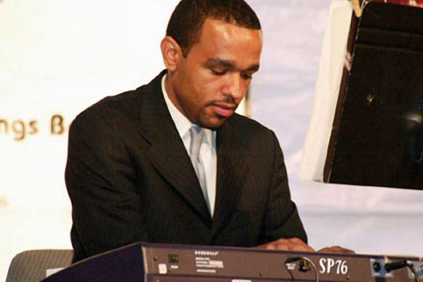 Pianist Wesley Reynoso , June 16, 2003, Seuffert Bandshell, Woodhaven Queens, New York (photo credit Jerry Lacay)