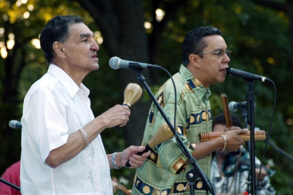 lead singers: Hiram Remón and Herman Olivera (Homenaje a Mongo Santamaria Concert, June 16, 2003, Seuffert Bandshell, Woodhaven Queens, New York (photo credit Jerry Lacay)