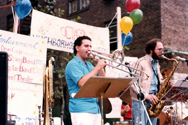 One of early presentations in the history of the Latin-Jazz Coalition, September 1987 in Sunnyside Queens, New York, Demetrios Kastaris on tenor and bass trombone, Frank Basile on tenor sax (photo credit Donald Wittekind)