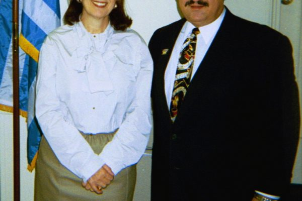 Left: Consul General of Greece: Katherine Bouras, right, Demetrios Kastaris, at the Stathakion Cultural Center in Astoria, Queens, NY, Spring 2006