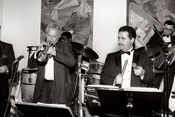 Grand Opening of Flushing Town Hall Jazz Cafe, May 20, 1993, Flushing Council on Culture and the Arts, Flushing Queens, New York left to right: Hiram Remón, Steve Gluzband, Victor Lewis, Demetrios Kastaris, Mario Rodriguez