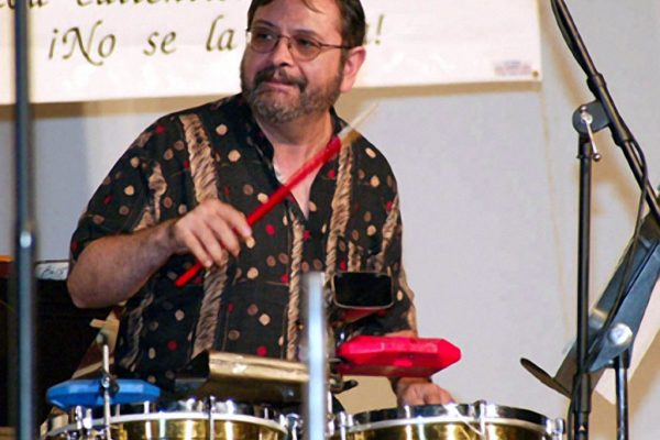Victor Rendón solos on the timbales, June 16, 2003, Seuffert Bandshell, Woodhaven Queens, New York (photo credit Jerry Lacay)