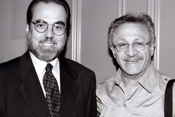 Singer Chico Alvarez and pianist Edy Martinez backstage at the Flushing Council on Culture and the Arts, Flushing Queens, New York July 29, 2001 (photo credit Jerry Lacay)