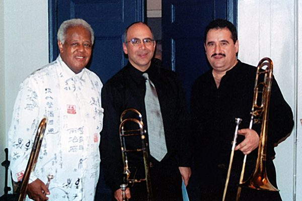 left to right: Jazz virtuoso Slide Hampton, Joe Alessi - principal trombonist of the NY Philharmonic, Demetrios Kastaris, Trombone Day at the Mannes College of Music in New York City, 2003