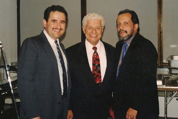 left to right: Demetrios Kastaris, Master Timbalero, Latin music Icon. Multi Grammy Award Winner, Tito Puente, pianist Dr. William Rodriguez, Architects and Designer's Building, September 1999