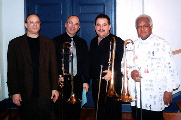left to right: bass trombonist Dave Taylor, Joe Alessi - principal trombonist of the NY Philharmonic, Demetrios Kastaris, Jazz virtuoso Slide Hampton, Trombone Day at the Mannes College of Music in New York City, 2003