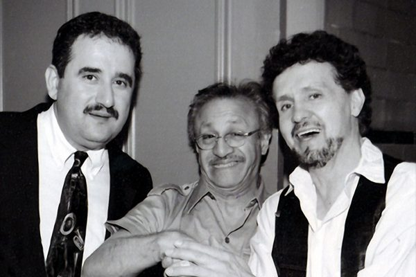 left to right: Demetrios Kastaris, Edy Martinez, Memo Acevedo, Backstage at the Flushing Council on Culture and the Arts, Flushing Queens, New York July 29, 2001 (photo credit Jerry Lacay)