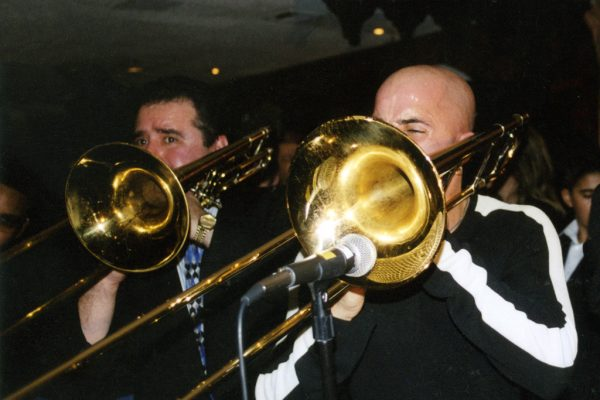 Demetrios Kastaris, Jimmy Bosch performing at La Maganette (WFDU FM Fundraiser with Vicki Solá) in New York City, November 2002 (photo credit Luis Osorio)