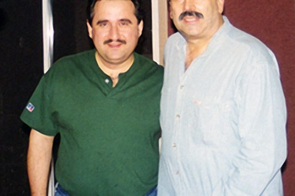 "Johnny ""Dandy"" Rodriguez (percussionist and musical director of the Tito Punete orchestra) records with Demetrios Kastaris at Skylight Studios in Belleville, New Jersey September 1999"