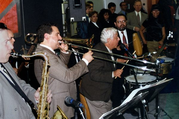 left to right: Mitch Frohman, Demetrios Kastaris, Tito Puente, Victor Rendón, September 30, 1997 Architect and Designer's Building, NYC (photo credit Ito Rodriguez)