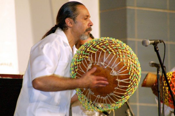 "Angel Rodriguez - shekeres ""Homenaje a Mongo Santamaria"" (Homage to Mongo Santamaria) Concert, June 16, 2003, Seuffert Bandshell, Woodhaven Queens, New York (photo credit Jerry Lacay)"