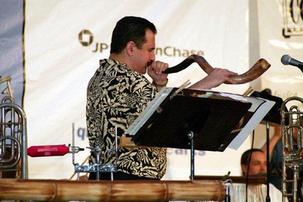 Demetrios Kastaris plays the shofar , June 16, 2003, Seuffert Bandshell, Woodhaven Queens, New York (photo credit Jerry Lacay)