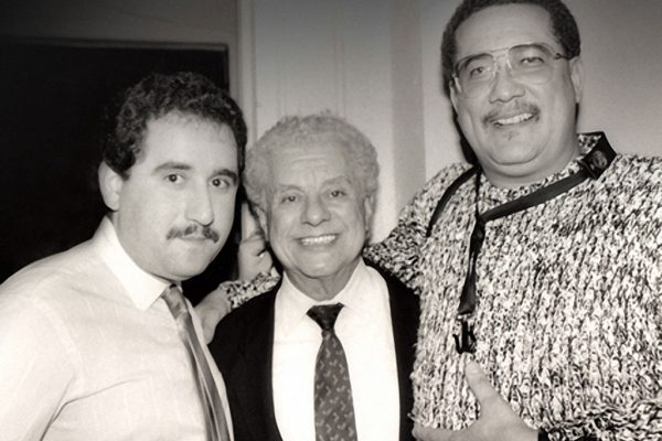 Backstage at the Village Gate in NYC, Demetrios Kastaris, Tito Puente, Paquito D' Rivera, February 27, 1990 (photo credit Hilda Kastaris)