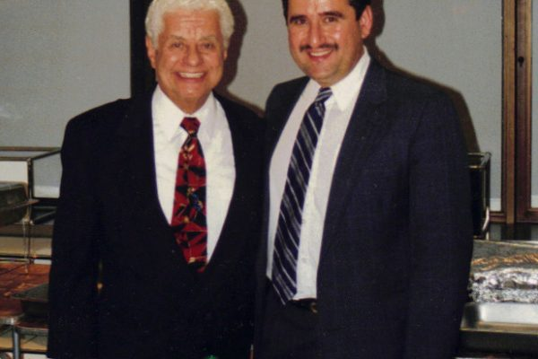 On left: Master Timbalero, Latin music Icon, Multi Grammy Award Winner, Tito Puente, right: Demetrios Kastaris, Architects and Designer's Building, September 1999, photo credit Ito Rodriguez