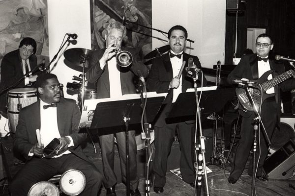 left corner: guest soloist Latin music Icon and Grammy Award winner Ray Barretto, front row left to right: Victor Lewis, Steve Gluzband, Demetrios Kastaris, Mario Rodriguez, Grand Opening of Flushing Town Hall Jazz Cafe, May 20, 1993, Flushing Council on Culture and the Arts, Flushing Queens, New York