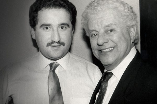 Demetrios Kastaris with Latin music legend Tito Puente backstage at the Village Gate in NYC, February 27, 1990 (photo credit Hilda Kastaris)