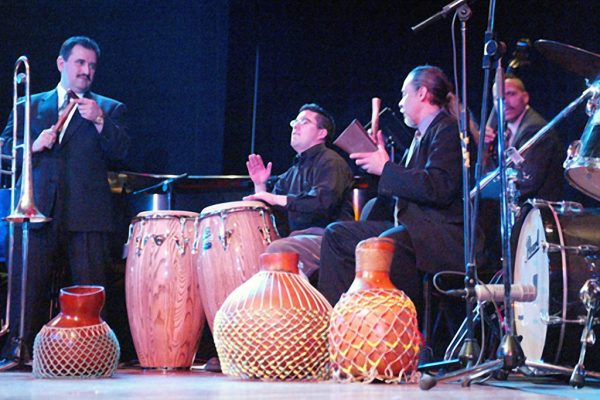 left to right: Demetrios Kastaris, Samuel Torres, Angel Rodriguez, Solo Rodriguez, Flushing Town Hall, April 9, 2003 ( photo credit Jerry Lacay)