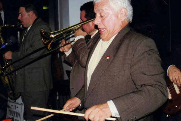 Master Timbalero, Latin music Icon, Multi Grammy Award Winner, Tito Puente, performs as a special guest with the Latin Jazz Coalition, Architects and Designer's Building, September 1997, photo credit, Ito Rodriguez, left to right, Mitch Frohman, Demetrios Kastaris, Tito Puente