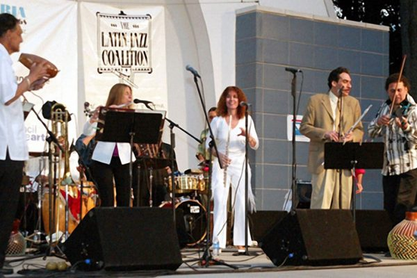 "Front row left to right: Hiram Remón, Connie Grossman, Andrea Brachfeld, Dave Valentin , Alfredo de la Fé, ""Homenaje a Mongo Santamaria"" (Homage to Mongo Santamaria) Concert, June 16, 2003, Seuffert Bandshell, Woodhaven Queens, New York (photo credit Jerry Lacay)"